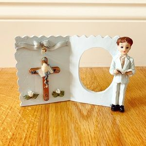 Vintage blue Boys' First Communion picture frame